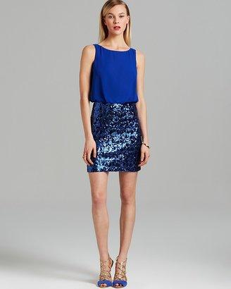 Aqua Dress - Sequin Bottom Open Back Chiffon