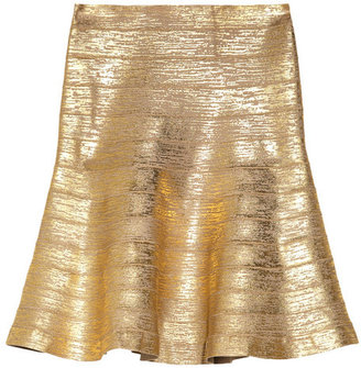Herve Leger Metallic-coated bandage flared skirt