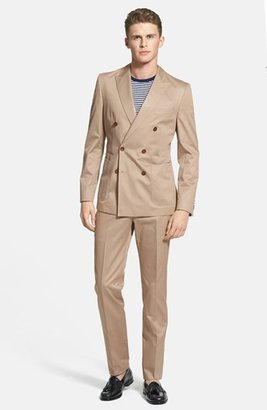 HUGO BOSS 'Nickson/Knox' Trim Fit Double Breasted Cotton Suit