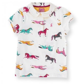 Joules Cream Jersey Horse Print Polo