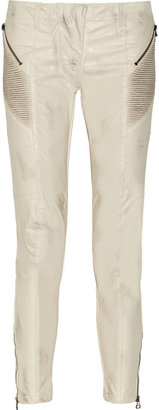 Balmain Pierre Distressed faux leather skinny jeans