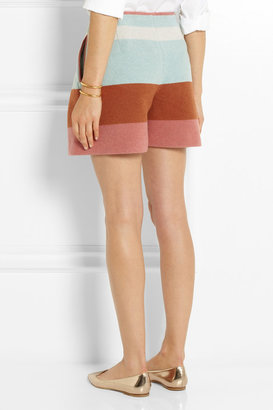 See by Chloe Striped woven felt shorts