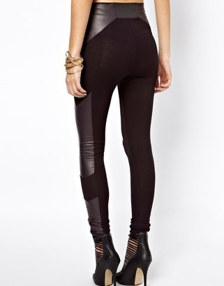 Asos Leggings in High Waist with Leather Look Panel Detail