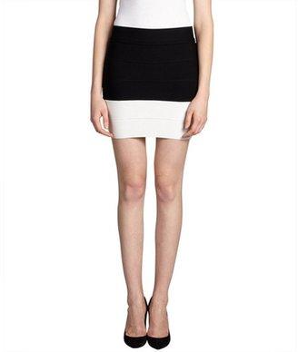Wyatt black and ivory colorblock bodycon mini skirt