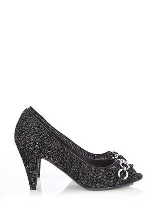 PeepToe Black Diamante Shoe