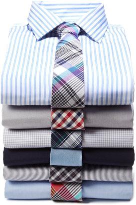 Neiman Marcus Plaid Cotton Tie, Blue