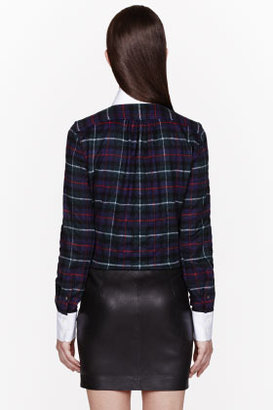 DSquared DSQUARED2 Blue & Red Plaid Kaiser Dean Contrast Blouse