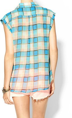 Juicy Couture Skies Are Blue Short Sleeve Plaid Top