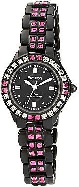 JCPenney Armitron® NowTM Womens Black & Pink Crystal Accent Watch