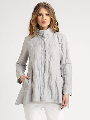 Eileen Fisher Concealed-Hood Jacket