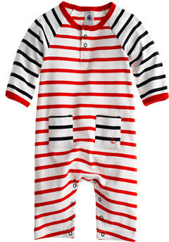 Petit Bateau Baby coverall in stripe