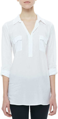 Splendid Tab-Sleeve Shirt Tunic, White