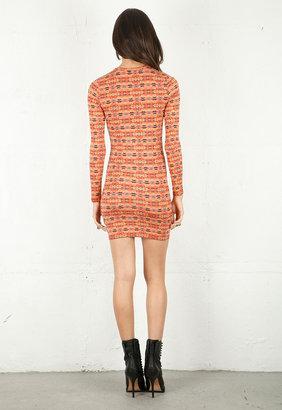 Torn By Ronny Kobo Zoe Long Sleeve Dress in Red