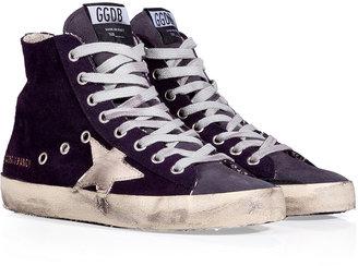 Golden Goose Purple Suede Francy Hi Sneakers