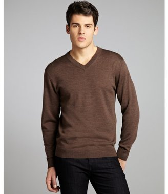 Harrison olive merino wool v-neck sweater