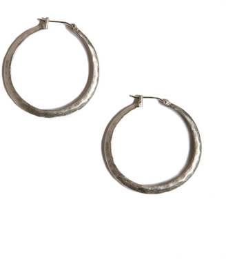 Lucky Brand Earrings, Small Silver Tone Hammered Hoop