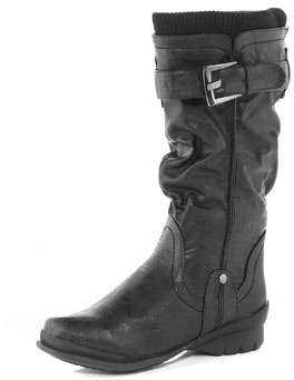 Dorothy Perkins Black buckle long boot