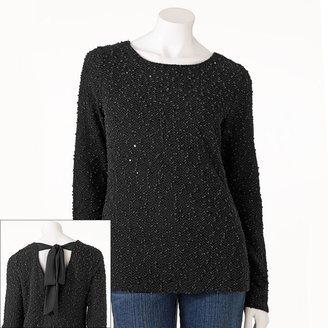 JLO by Jennifer Lopez sequin boucle sweater - women's