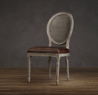 Restoration Hardware Vintage French Cane Back Round Leather (Set of Chairs)