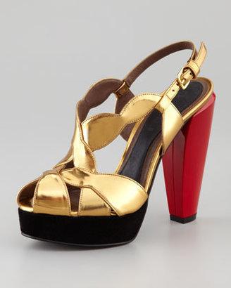 Marni Lacquer-Heel Mirror Sandal