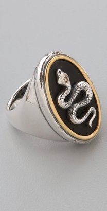Elizabeth and James Onyx Snake Cameo Ring with Diamond