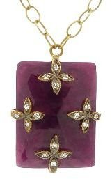 Cathy Waterman Ruby Flower Overlay Pendant - 22 Karat Gold
