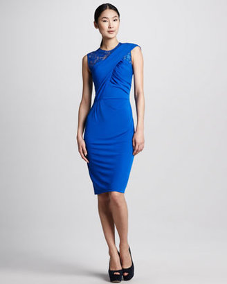David Meister Wrapped Lace-Bodice Cocktail Dress