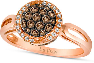 LeVian Chocolate by Petite Le Vian® Chocolate Diamond (1/2 ct. t.w.) and White Diamond Accent Pave Oval Ring in 14k Rose Gold