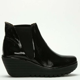 Fly London Woss Black Patent Leather Wedge Ankle Boot