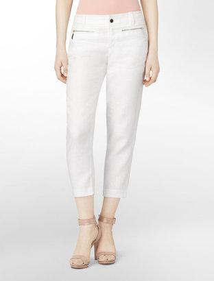 Calvin Klein Favorite Fit Casual Cropped Linen Pants