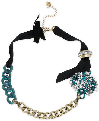 Betsey Johnson Gold-Tone Patina Flower and Chain Ribbon Necklace