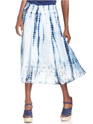 Style&Co. Petite Skirt, Tie-Dye Eyelet-Lace Smocked Midi