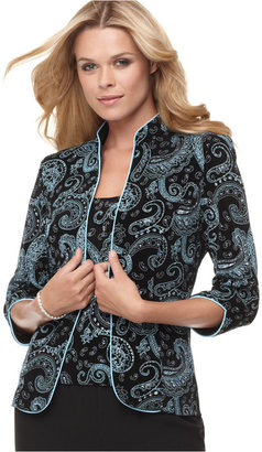 Alex Evenings Three-Quarter-Sleeve Metallic Paisley Jacket and Shell $119 thestylecure.com
