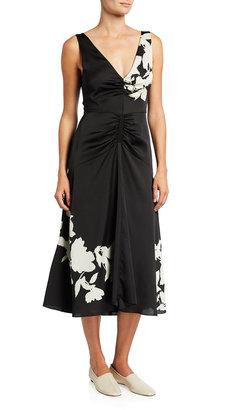 Vince Ruched V-Neck Floral Satin Midi Dress