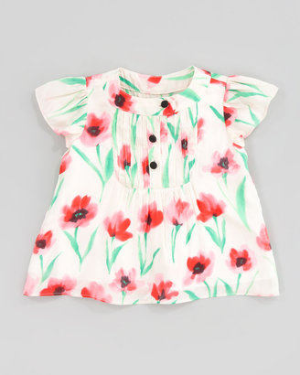 Milly Minis Flutter Pintuck Poppy-Print Blouse