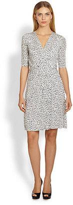 Max Mara Printed Jersey Faux-Wrap Dress
