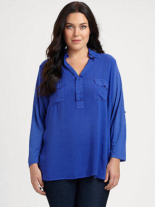 Splendid Splendid, Salon Z Patch Pocket Jersey Blouse