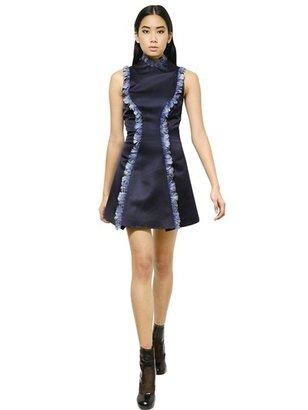 Christopher Kane Feather & Silk Satin Crew Neck Dress