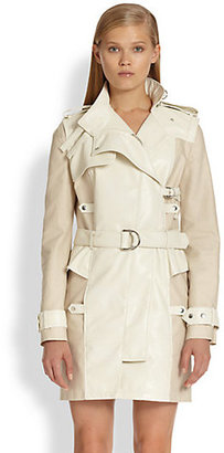 McQ by Alexander McQueen Leather-Paneled Removable-Sleeve Trenchcoat