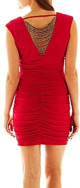 JCPenney by&by Cowlneck Fringe-Back Dress