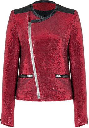 IRO Red Sequined Longina Jacket