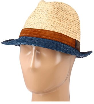 Hat Attack Raffia Braid Bi-Color Fedora W/Leather Band Trim (Natural/Navy/Tobacco) - Hats