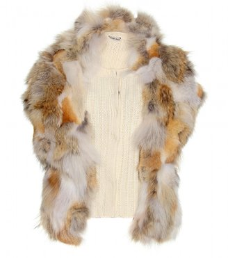 Miu Miu RIBBED KNIT VEST WITH FUR TRIMMED OVERLAY