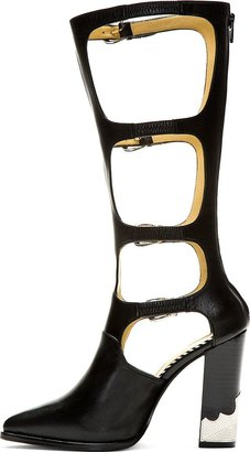 Toga Pulla Black Leather Multi Strap High Heel Boot