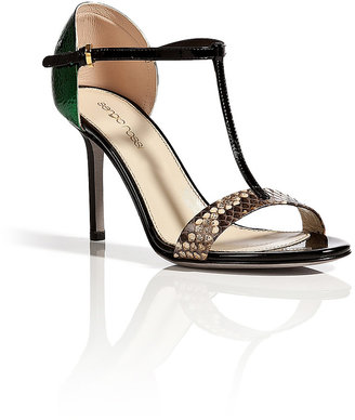 Sergio Rossi Black Leather/Python Sandals with Metal Back