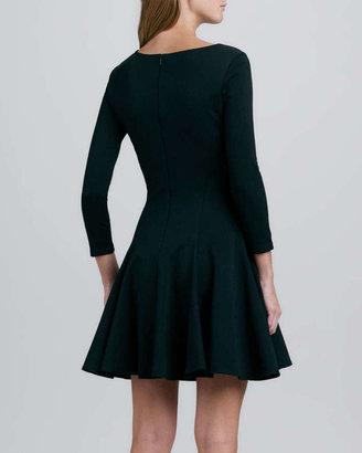 Halston Ponte Knit Cutout Dress, Black