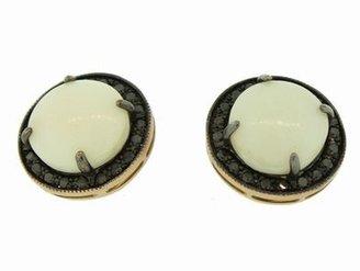 Andrea Fohrman White Onyx Kat Earrings with Black Diamond Frame in Rose Gold