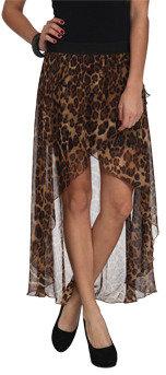 Wet Seal WetSeal Leopard Chiffon High-Low Skirt Black/gold