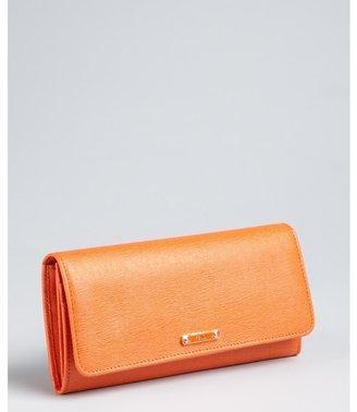 Fendi orange vitello elite leather continental wallet