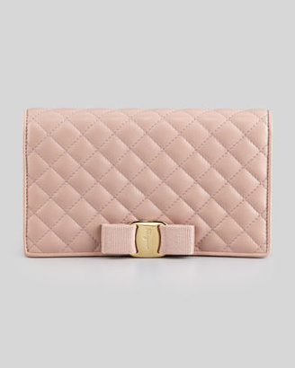 Salvatore Ferragamo Miss Vara Quilted Wallet-on-a-Chain, Nocturne Rose